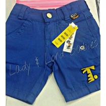 Bermuda Jeans Infantil Masculina Colors Colorida Tigor Tigre