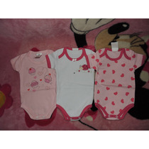 Lote Com 3 Bodys Infantil Bebê Menina Tamanho M