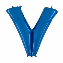 Balão Metalizado Letra V Azul 40 Polegadas 1 M