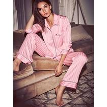 Victorias Secret Pijama Raso Casaca Y Pantalon Talle S Nuevo