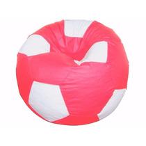Puff Pufe Puf Redondo Bola Futebol 80cm Vazio Rosa Pink Deta