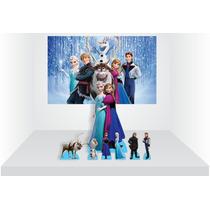 Kit Cenário Display De Chão E Mesa Frozen - 7 Peças + Painel