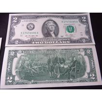 Billete Two 2 Dollar Billete De La Suerte Sin Circular Crisp