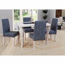 Conjunto De Jantar 4 Cadeiras Iara - Mesa Em Mdf/vidro E Pés
