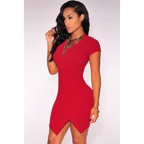 Sexy Mini Vestido Rojo Manga Corta Corte Asimetrico Moda