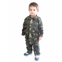Conjunto Farda Infantil Exército Militar + Camiseta Camuflad