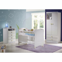 Conjunto Infantil Berço Comoda Guarda Roupas Baby Wfs Móveis