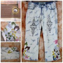 Calça Jeans Lycra 40 42 Bordada N&g Jeans Customizada