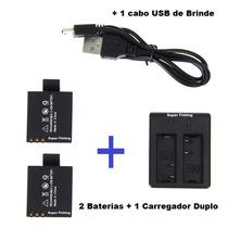 2 Baterias +1 Carregador Duplo P/ Camera Ultra Hd 4k