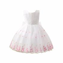 Vestido Infantil Dama De Honra Florista Renda Branco Bordado