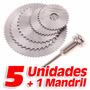 Kit De 5 Discos Sierra Hss + 1 Mandril Para Dremel