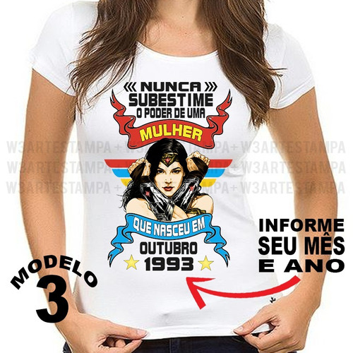7717f2e31 camiseta nunca subestime uma mulher maravilha personalizada. Carregando zoom .