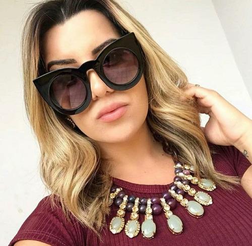 e8c9215a2ad74 Óculos Última Moda Tendencia Espelhado Rosa Gatinho Luxo - R  49