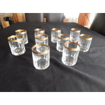 11 Vasos De Wisky Con Borde De Cobre, Remanente Cristaleria