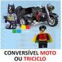 Batman + Robin + Moto Triciclo Minifigures Lego Compatível