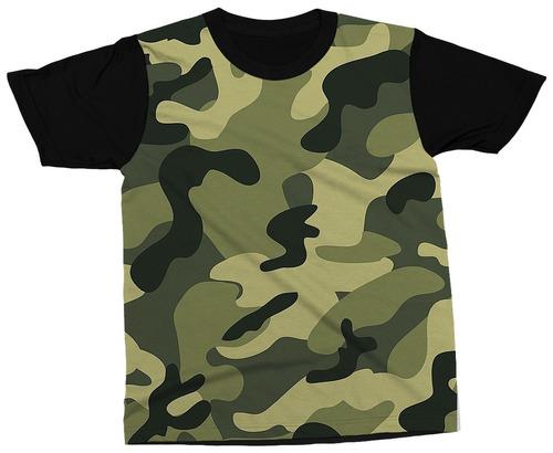 Camiseta Estampa Camuflada Militar Verde Preto Blusa Camisa - R  89 ... 740b3e727b65f