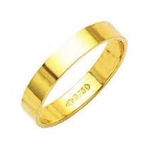 Alianças Ouro 18k Casamento Compromisso Quadrada Reta 4gr.