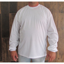 Camiseta Manga Longa Tamanho Grande Dry Fit Lisa S/ Estampa