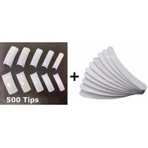 500 Tips Sorriso Unha Postiça Gel Acrigel + 10 Lixas Banana