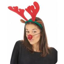 Cuernos De Reno Con Nariz Luminosa Orejas Disfraz Navidad
