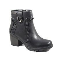 Botas Mujer Invierno Zapatos Chocolate Pespunte Taco 506426