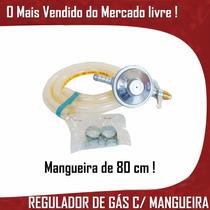 Regulador Gás Registro Válvula Fogão Mangueira Segurança Kit