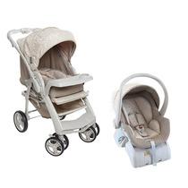 Conjunto Carrinho Bebê Conforto Base Galzerano Optimus Bege