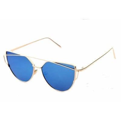 881413d44d631 Óculos De Sol Feminino Lente Azul Espelhado Mulher Dourado - R  78 ...