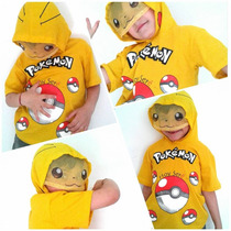 Remera Niño Disfraz Pikachu Pokemon Go Capucha Mascara
