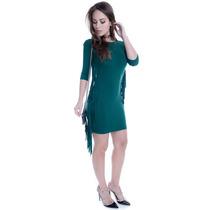 Vestido De Viscolycra Com Franjas - Kam Bess - Ve1404