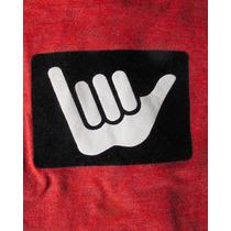 Remera Hangloose Talle 12-13 Surf Rojo Ciruela Con Aplique