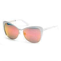 Óculos De Sol Guess Metal Branco Com Lente Rosa