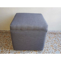 Sillón Taburete Cuadrado - 40x40 - Tela Lino Gris Oxford
