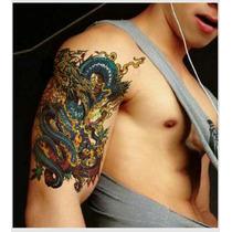 Tatuagem Temporária 3d Grande Muito Real Dragão Em Chamas