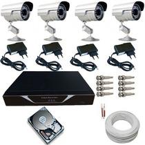 Kit 4 Câmeras Monitoramento Residencial E Dvr Stand Alone