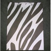 100 Sacolinhas De Papel Cor: Zebra 16x12x6