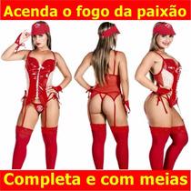 Lingerie Fantasia Festa Sexy Espartilho Bombeira Cinta Liga