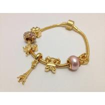 Bracelete,b Ouro 18, Estilo Vivara E Pandora Com 7 Charmes
