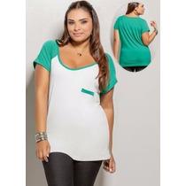 Blusa Plus Size Feminina ( Roupa Gordinha ) Branco E Verde