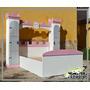 Cama Para Niña Castillo Individual Con Torres Con Repisas