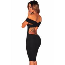 Vestido Strapless Negro Tirantes Cruzados En Espalda Desnuda
