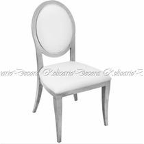Cadeira De Jantar Em Metal Design Medalhão Estofado Branco