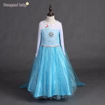 Mega Promocao! Fantasia Elsa Frozen Longa Super Luxo