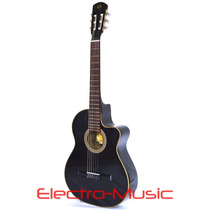 Guitarra Clásica Electroacústica Con Corte Y Funda De Regalo