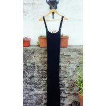 Vestido Negro Largo Allô Martinez Con Breteles De Cuero M