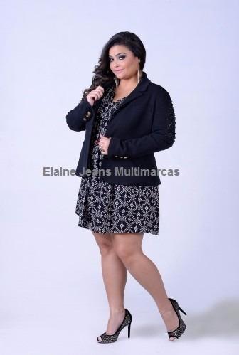 f705265f07 Blazer Social Feminino Plus Size Moda Grande Tamanho 48 50 - R  129 ...