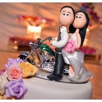 Casal Noivinhos De Biscuit Casamento Topo De Bolo, Na Moto