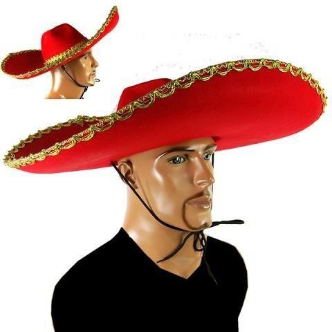 Vermelho Grande Chapeu Mexicano Bordado Para Festas Fantasia - R  120 544d36b61ae