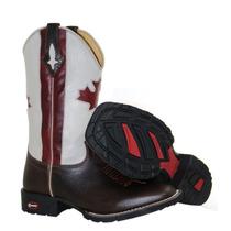 Bota Botina Texana Masculina Bandeira Canada Bico Quadrado