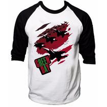 Camisa Raglan 3/4 Green Day American Idiot Rock Camiseta #4